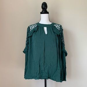 Jodifl NWT Long Sleeve with Lace Dark Green 🌤